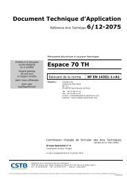 Document Technique d'Application Espace 70 TH