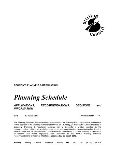 Planning schedule - 13.03.2013 [294.09kB] - Stirling Council