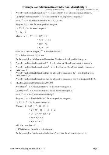 Mathematical Induction Worksheet | Worksheet