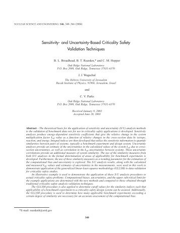 Sensitivity- and Uncertainty-Based Criticality Safety Validation ...