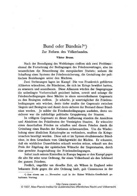 Bund oder Bündnis?) - Zeitschrift für ausländisches öffentliches ...