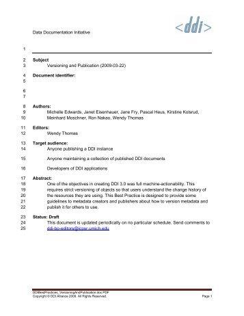 Versioning and Publication - Data Documentation Initiative