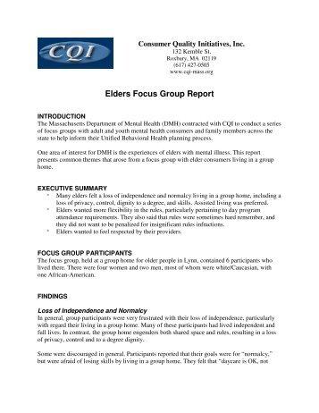 Elders Focus Group Report - Consumer Quality Initiatives