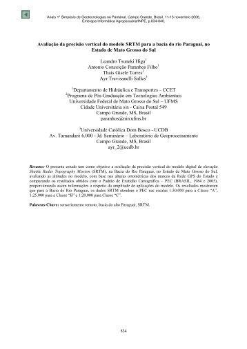 Avaliação da precisão vertical do modelo SRTM ... - mtc-m17:80 - Inpe