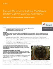 Clariant Oil Services' Calcium Naphthenate Inhibitor Delivers Excellent