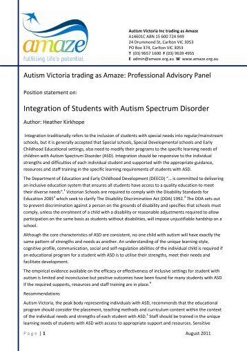 Integration of Students with Autism Spectrum Disorder - Amaze