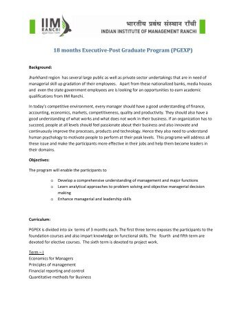18 months Executive-Post Graduate Program (PGEXP) - IIM Ranchi