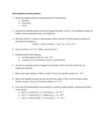 solubility product constant handout Determining the ksp of calcium hydroxide  the solubility product expression defines the solubility product constant,  the handout document for the ksp.