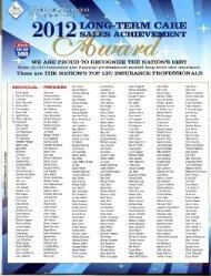 Sales Awards - Long Term Care Insurance
