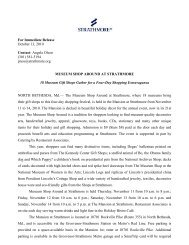 For Immediate Release October 13, 2010 Contact ... - Strathmore