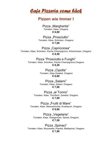 Cafe Pizzeria come bäck Pizzen wie Immer I - Gitschtaler.at