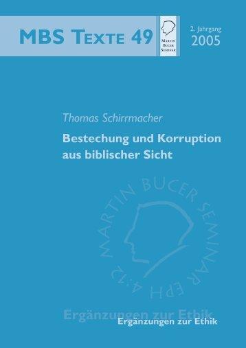 Bestechung und Korruption aus biblischer Sicht - Martin Bucer ...
