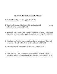 Gr. 7/8 Peer Leadership Program Application - Natick Public Schools