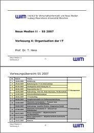Organisation der IT - Institut für Wirtschaftsinformatik und neue Medien