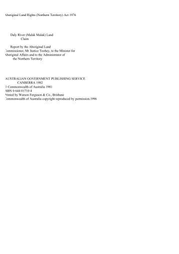 (Malak Malak) Land Claim - pdf - Department of Families, Housing ...
