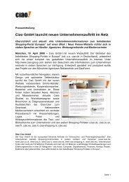 Ciao GmbH launcht neuen Unternehmensauftritt im Netz