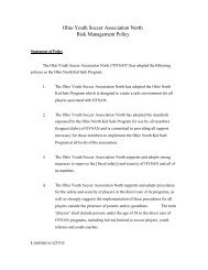 Ohio Youth Soccer Association North Risk Management Policy