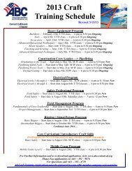 2013 Craft Training Schedule
