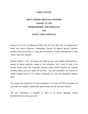 public notice west virginia medicaid program change to the ... - DHHR
