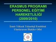 Personel Eğitim Alma Programı Hakkında Genel Bilgi - İYTE ...
