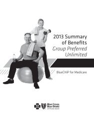 2013 Summary of Benefits Group Preferred Unlimited - Blue Cross ...