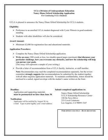 Nancy Diane Orford Scholarship - Division of Undergraduate ...