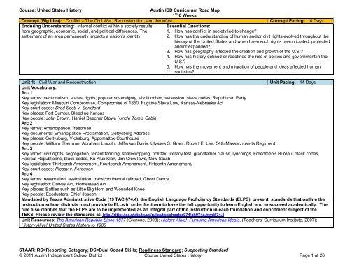 United States History Austin Isd Curriculum Road Map 1st 6 Weeks - Us-history-curriculum-map