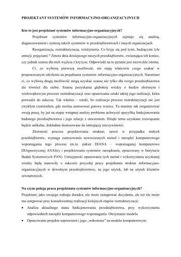 Projektant systemów informacyjno-organizacyjnych - Instytut Badań ...
