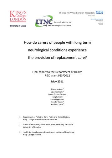 How do carers of people with long term neurological conditions ...
