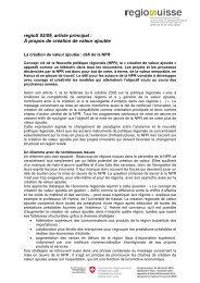 regioS 02/09, article principal : À propos de création ... - Regiosuisse