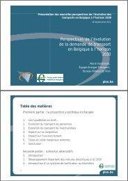 Perspectives de l'évolution de la demande de transport en Belgique ...
