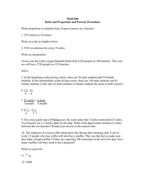 Math 060 Ratio and Proportion and Percent Worksheet - Wayne ...