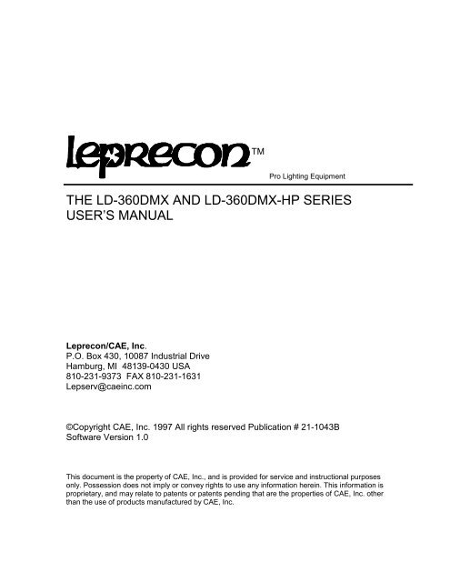 the ld-360dmx and ld-360dmx-hp series user's manual - Leprecon