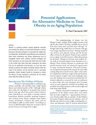 Potential Applications for Alternative Medicine to ... - Thorne Research