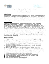 Senior Manager Position – California Quality Collaborative Pacific ...