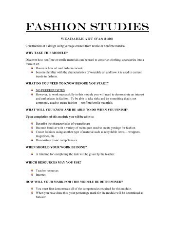 Fashion 3120 Outline/Assignments