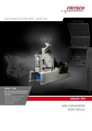 JAW crushers Disk Mills classic line - Fritsch - Malen en Zeven