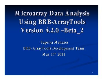 Microarray Data Analysis Using BRB-ArrayTools Version 4.2.0 ...