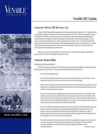 SEC Update, August 2002 - Venable LLP