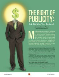 THE RIGHT OF PUBLICITY: Is it Right for Your Business?