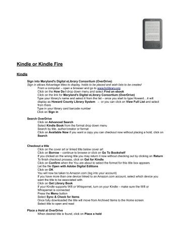 Kindle or Kindle Fire - Howard County Library