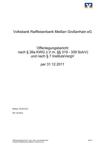Offenlegungsbericht des Jahres 2011 - Volksbank Raiffeisenbank ...