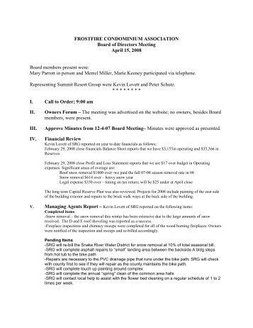 4-14-08 FF Board Meeting minutes - Summit Resort Group HOA ...