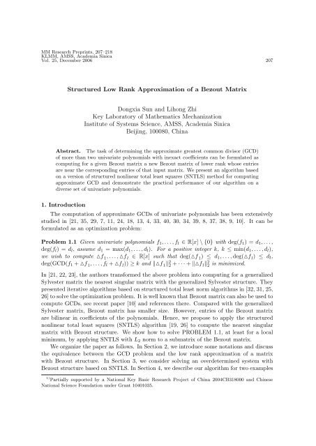 Structured Low Rank Approximation of a Bezout Matrix     - KLMM