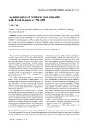 Economic analysis of forest joint-stock companies in the Czech ...