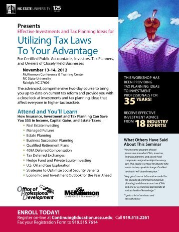Utilizing Tax Laws To Your Advantage - McKimmon Center for ...