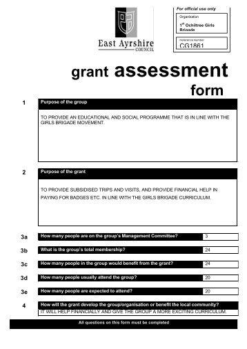 1st Ochiltree Girls Brigade Grant Assessment