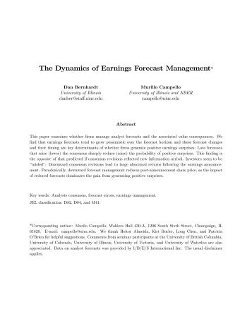 The Dynamics of Earnings Forecast Management*