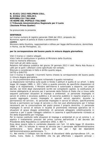 N. 01431/2013 REG.PROV.COLL. N. 03564/2011 REG.RIC ... - Ospol