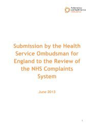 Submission by the Health Service Ombudsman for England to the ...